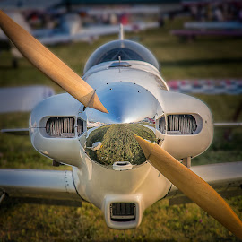 Man and his plane by Paul Zeinert - Transportation Airplanes ( wisconsin, north america, 2014, oshkosh, sunset, eaa, prop, reflections, experimental, homemade )