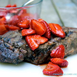 Balsamic Marinated Strawberries and Steak