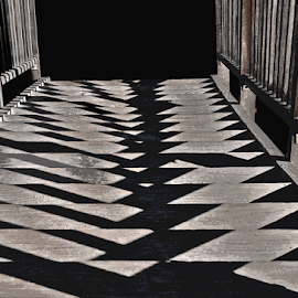Shadows by Martha van der Westhuizen - Abstract Patterns ( abstract, wooden, pathway, bridge, diamond shapes, shadows )
