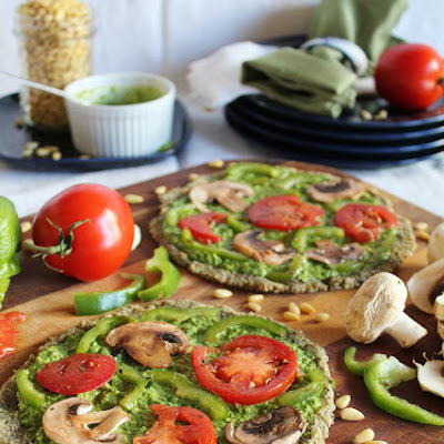Raw Pizza With Spinach Pesto & Marinated Vegetables