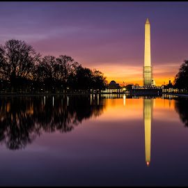 Sunrise at the Reflecting Pool by Anh Nguyen - Buildings & Architecture Statues & Monuments