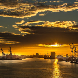 Leavin' Belfast..... by Terry Hanna - City,  Street & Park  Skylines ( shipyards, ferry, belfast, n ireland, harbour, docks )