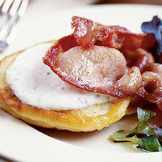 Ricotta Hot Cakes With Crispy Bacon & Mixed Leaves