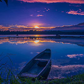 Sampaloc Lake Early Morning Sunrise by Juanito Bumactao - Landscapes Sunsets & Sunrises ( sampaloc lake, beautiful, lake, sunshine, sunrise )