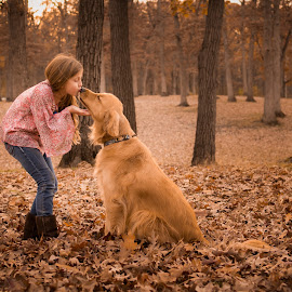 Golden Kiss by Stephanie Perlick - Animals - Dogs Portraits ( kiss, girl, fall )