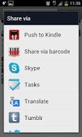 Screenshot of Push to Kindle