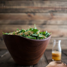 Spinach and Kamut Salad with Chili-Orange Dressing