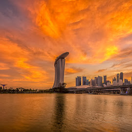 Clouds over Marina Bay Sands.. by Hendrik Priyanto - City,  Street & Park  Skylines ( clouds, architecture, cityscape, landscape, golden hour )