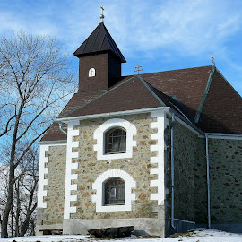 A view of a small catholic chapel by Dunja Dretvić - Buildings & Architecture Other Exteriors ( nature church shrine renewal serene spiritual chapel woods peaceful prayers building natural praying religion christian )