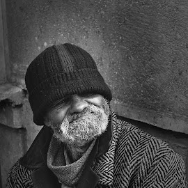 Homeless by Marius Marius - People Street & Candids ( sorrow, new, black and white, homeless, man )