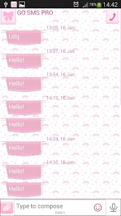 GO SMS Lovely Pink - screenshot