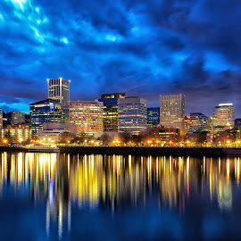 Portland CityScape April 2014 by Lee Gochenour - City,  Street & Park  Skylines ( oregon, portland, portlandia, rose city, cityscape, pdx, skyline. river. )