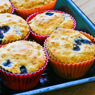 Low Sugar Whole Wheat and Oatmeal Blueberry Muffins with Lemon