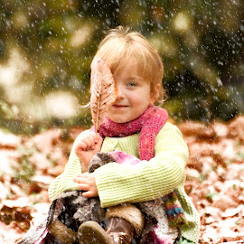 Snow Sessions by Dominic Lemoine Photography - Babies & Children Child Portraits ( sitting, girl, snow, leaf, leaves )