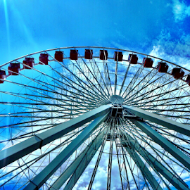 Navy Pier  by Brock Willis - City,  Street & Park  Amusement Parks ( ferris wheel cool fun sky blue navy pier )
