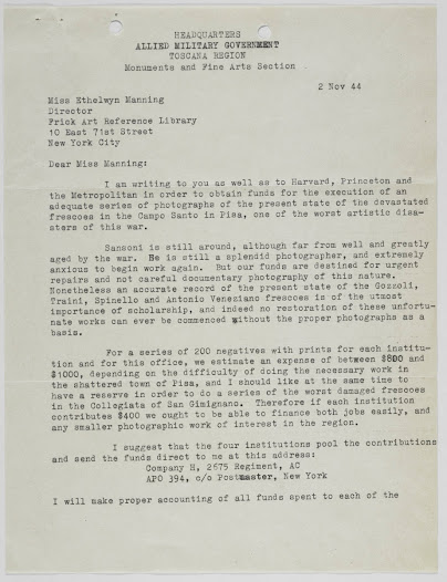 Letter from Frederick Hartt, Monuments Man, to the Library, relaying news of photographer Mario Sansoni and requesting funds to produce photos of the devastated frescoes in the Camposanto in Pisa, Italy.
