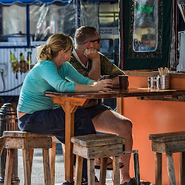 morning coffee by Vibeke Friis - People Couples ( backlight, coffe cart, couple,  )