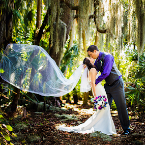 Love in the Paradise by Ina Pandora - Wedding Bride & Groom ( wedding photography, florida, moss, trees, veil, bride and groom, woods )