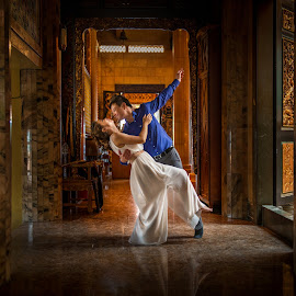 Dance by Keith Thum - Wedding Bride & Groom ( dancing, wedding, gold, people, dance, engagement )