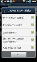 Screenshot of Contacts / SMS /LOG CSV Export