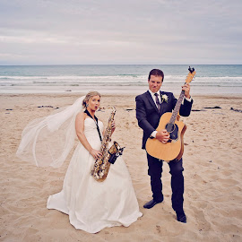 Jazz it Up by Alan Evans - Wedding Bride & Groom ( great ocean road wedding photographer, great ocean road, wedding photography, wedding day, wedding, wedding veil, aj photography, lorne wedding photographer, musical instruments, musician, bride and groom )