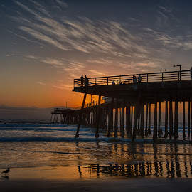Pismo Pier Sunset by Tom Reiman - Landscapes Sunsets & Sunrises ( colorful, sunset, pier, pismo, central california, seascape )