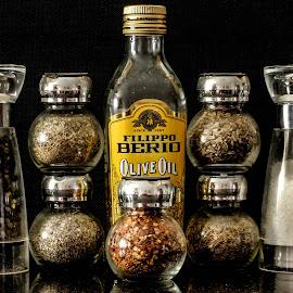 Herbs, salt, pepper & olive oil by Garry Chisholm - Food & Drink Ingredients ( ingredients, olive oil, garry chisholm, herbs, food, pepper, spices, salt )
