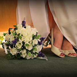 A Bride to be by Freda Nichols - Wedding Bride ( shoes, wedding, feet, flowers, people, artistic, object )