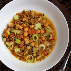 Wheatberry Paella; With Chickpeas & Leeks