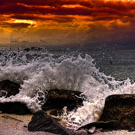 Wave Anger Return by Lawrence Chung - Landscapes Sunsets & Sunrises