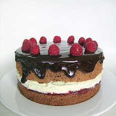 Vanilla, Chocolate and Kahlua Chiffon Cake with Port Wine and Raspberry Sauce