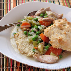 SLOW-COOKER CREAMY CHICKEN w/ BISCUITS