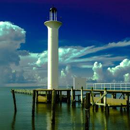 Broadwater Lighthouse by BeKKa - Landscapes Cloud Formations ( clouds, biloxi, lighthouse, ms. gulf  coast, hurricane katrina )