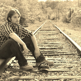 Alone by Tina Marie - People Portraits of Men ( railroad, train, forest, railroadtracks, tracks, men, woods, boy, portrait,  )