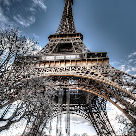 Eiffel Tower 3 by Ben Hodges - Buildings & Architecture Statues & Monuments ( paris, eiffel tower, europe, hdr, cloud, france, travel )