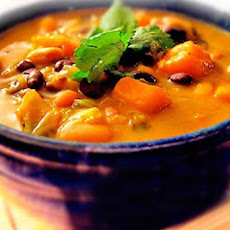 African Sweet Potato Soup Recipe with Peanut Butter, Black-eyed Peas and Beans