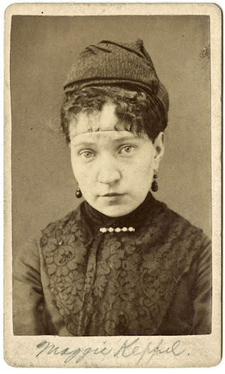 Maggie Keppel, Brooklyn Police Department intake photograph, ca. 1868