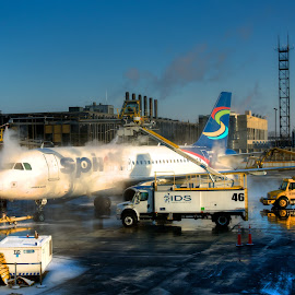 Wash airplane by Yu Tsumura - Transportation Airplanes ( airport, hdr, airplane, snow, wash,  )