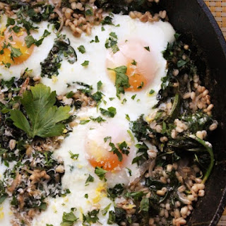 Skillet Barley With Kale and Eggs