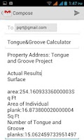 Screenshot of Tongue & Groove Calculator