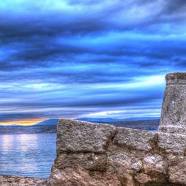 Stone bollard by Dalibor Jud - Artistic Objects Other Objects ( bollard, harbor, crikvenica, blue, bollards, mediterranean, croatia, sea, stone, rock, hrvatska )