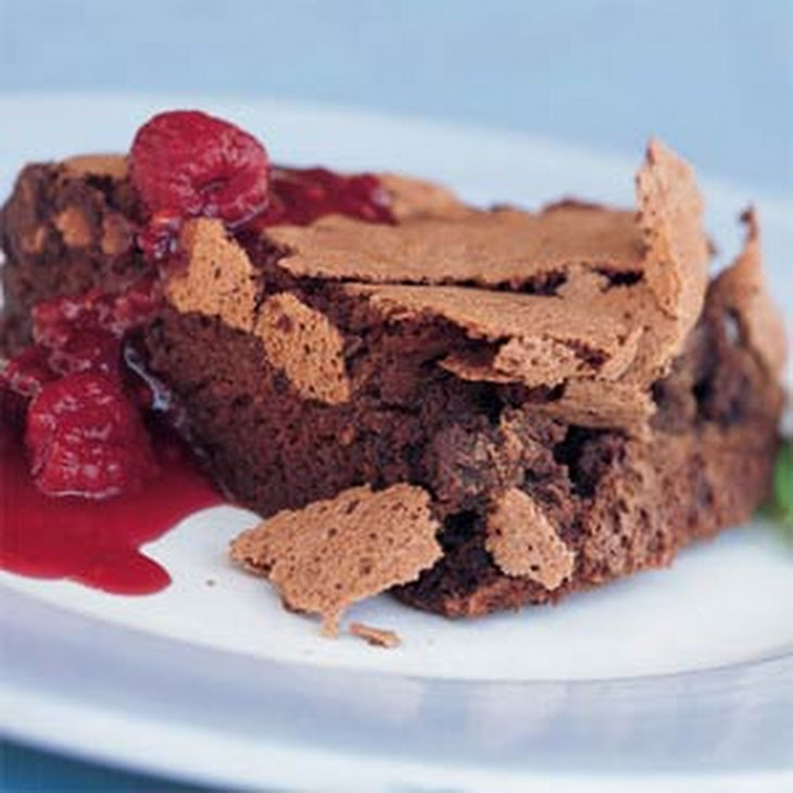 Double-Chocolate Soufflé Torte with Raspberry Sauce Recipe | Yummly