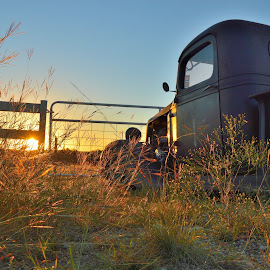 Rise and Shine by Kevin Dietze - Transportation Automobiles ( chevy trucks, street rod, rat rod, old trucks, sunrise )