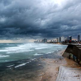 Winter by Adam Shaikhet - City,  Street & Park  Skylines ( clouds, winter, sunset, beach, city )