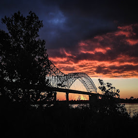 Mississippi River by Mary Phelps - Landscapes Sunsets & Sunrises ( clouds, memphis, sky, mississippi river, sunset, tennessee, hernando desoto bridge, mud island, downtown,  )
