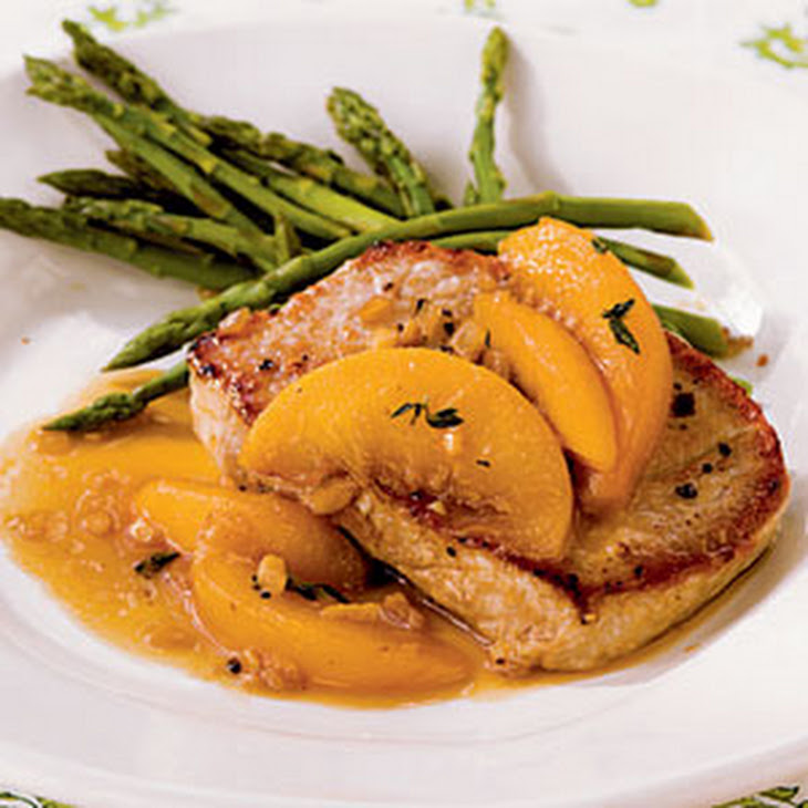 Pork Chops With Peaches, Bourbon, And Basil Recipes — Dishmaps