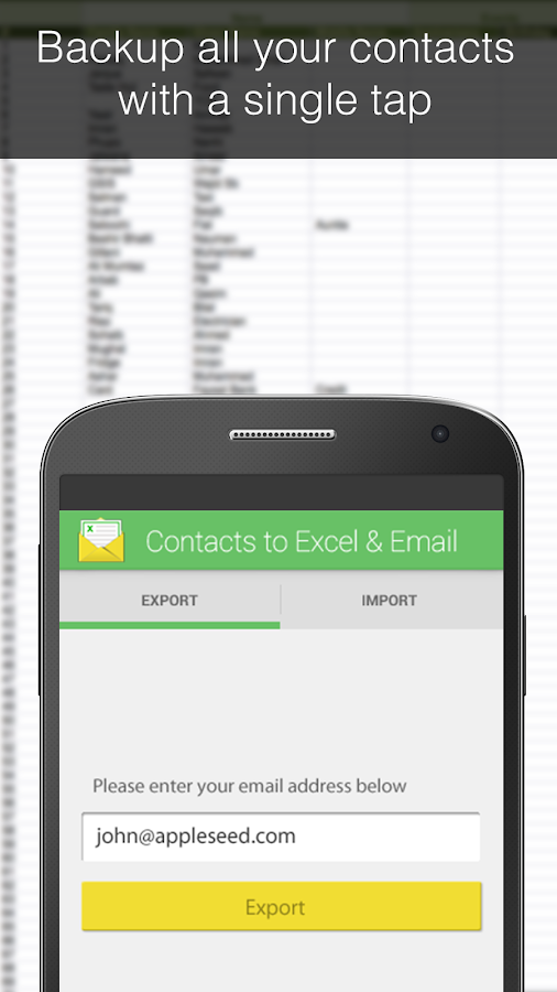 Contacts Backup--Excel & Email Screenshot 0