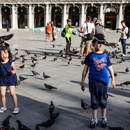 by Alice Lustah - City,  Street & Park  Street Scenes ( street, children, birds, people )