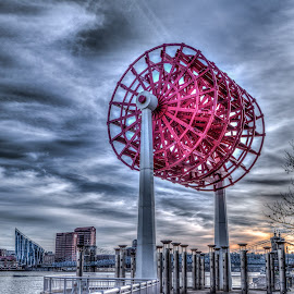 Paddle Wheel by Eric Witt - City,  Street & Park  City Parks ( clouds, water, hdri, skyline, sky, wheel, hdr, cityscape, paddle, golden hour, river,  )