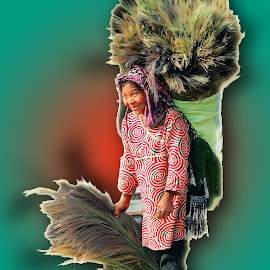 Broom selling tribal woman by Asif Bora - Digital Art People